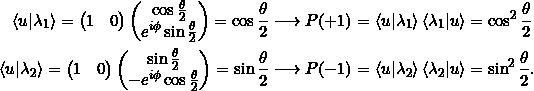 \begin{align*} \braket{u \lambda_1} = \begin{pmatrix} 1&0\end{pmatrix} \begin{pmatrix} \cos \frac{\theta}{2} \\ e^{i \phi} \sin \frac{\theta}{2} \end{pmatrix} = \cos \frac{\theta}{2} &\longrightarrow P(+1) = \braket{u \lambda_1} \braket{\lambda_1 u} = \cos^2\frac{\theta}{2}\\ \braket{u \lambda_2}= \begin{pmatrix} 1&0\end{pmatrix} \begin{pmatrix} \sin \frac{\theta}{2} \\ -e^{i\phi} \cos \frac{\theta}{2} \end{pmatrix} = \sin \frac{\theta}{2} &\longrightarrow P(-1) = \braket{u \lambda_2} \braket{\lambda_2 u} = \sin^2\frac{\theta}{2}. \end{align*}