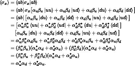 \begin{align*} \braket{\sigma_x} &= \braket{ab|\sigma_x | ab}\\ &= \bra{ab} \sigma_x \big[ \alpha_u \beta_u \ket{uu} + \alpha_u \beta_d \ket{ud} + \alpha_d \beta_u \ket{du} + \alpha_d \beta_d \ket{dd} \big]\\ &= \bra{ab} \big[ \alpha_u \beta_u \ket{du} + \alpha_u \beta_d \ket{dd} + \alpha_d \beta_u \ket{uu} + \alpha_d \beta_d \ket{ud} \big] \\ &= \big[ \alpha_u^* \beta_u^*\bra{uu} + \alpha_u^* \beta_d^*\bra{ud} + \alpha_d^* \beta_u^*\bra{du} + \alpha_d^* \beta_d^*\bra{dd} \big] \\ &\phantom{=}\;\big[ \alpha_u \beta_u \ket{du} + \alpha_u \beta_d \ket{dd} + \alpha_d \beta_u \ket{uu} + \alpha_d \beta_d \ket{ud} \big] \\ &= \alpha_u^* \beta_u^* \alpha_d \beta_u + \alpha_u^* \beta_d^* \alpha_d \beta_d + \alpha_d^* \beta_u^* \alpha_u \beta_u + \alpha_d^* \beta_d^* \alpha_u \beta_d \\&= (\beta_u^*\beta_u)(\alpha_u^*\alpha_d + \alpha_d^*\alpha_u ) + (\beta_d^*\beta_d)(\alpha_u^*\alpha_d + \alpha_d^*\alpha_u )\\&= (\beta_u^*\beta_u + \beta_d^*\beta_d)(\alpha_u^*\alpha_d + \alpha_d^*\alpha_u )\\&= \alpha_u^*\alpha_d + \alpha_d^*\alpha_u.\end{align*}